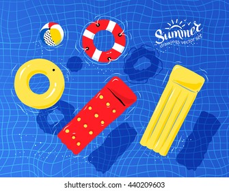 Vector illustration of pool rafts, rubber ring, beach ball and lifebuoy floating on water.