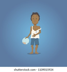 A vector illustration of a poor child.