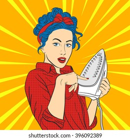 Vector illustration of pop art beautiful young surprised woman with iron. Retro Style. Woman touches hot iron with her finger.