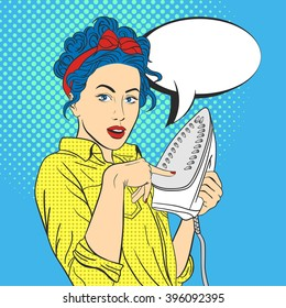 Vector illustration of pop art beautiful young surprised woman with iron. Retro Style. Woman touches hot iron with her finger. Empty speech bubble.