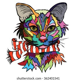 Vector illustration. Pop art portrait of a cat in a warm scarf on a white background