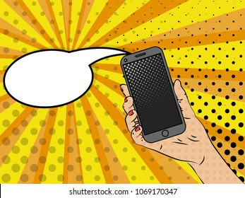 Vector illustration of pop art style. A smartphone in a woman's hand. Vector colorful background in pop art retro comic style.
