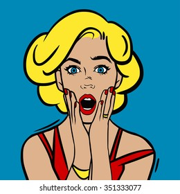 Vector illustration. Pop art surprised woman face with open mouth.