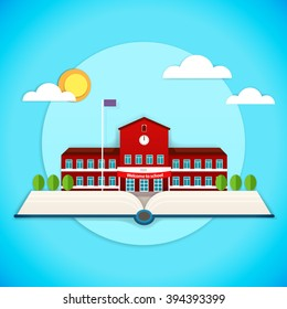 Vector illustration of pop up book with school building in applique style