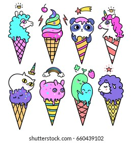 Vector illustration of Pop Cute ice cream cones that look like animals. Unicorn, alpaca, panda, cats, rabbit, sheep and cute plants. Vector background.