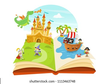 Vector Illustration of a Pop Up Fairy Tale Book