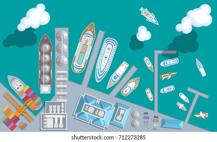 Vector illustration. Port with ships. Top view. Seaport, cargo and passenger ships, warehouses, sea, clouds. View from above.