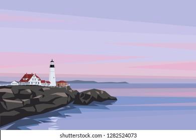 Vector illustration of Portland Head Lighthouse, Cape Elizabeth, Maine, USA. Flat style background