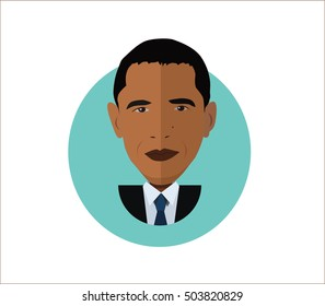 vector illustration, portrait of  Barrack Obama, president USA