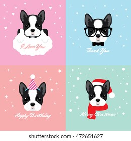 Vector Illustration Portrait of Boston Terrier Puppy. Dog Cards