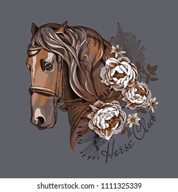 Vector illustration. Portrait of the brown Horse with peony flowers and fern leaves. Horse club - lettering quote. Poster, emblem composition, hand drawn style print.