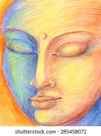 vector illustration portrait of Buddha drawing with colored pencils