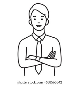 Illustration vectorielle portrait d'homme d'affaires en gestes de mains et d'bras croisés, souriants, heureux, confiants. Style d'esquisse dessinée à la main, design simple.