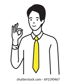 Vector illustration portrait of businessman showing gesture OK hand sign, agreement, happy, satisfy, approval, or well done expression. Outline, hand draw sketch design, black and white simple style.