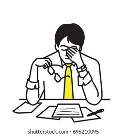 Vector illustration portrait character of businessman, sitting at his table, workplace, covering his face with hands, holding glasses to relax, expressing stressed emotion. Outline, hand drawn design.