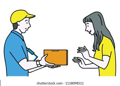 Vector illustration portrait character of delivery service man giving parcel to female customer. Outline, linear, thin line art, hand drawn sketch design, simple style.