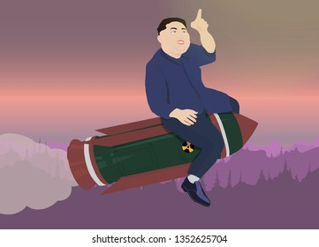 A vector illustration of a portrait of President Kim Jong Un on a sky and forest background