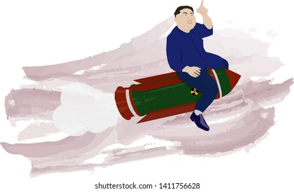 A vector illustration of a portrait of President Kim Jong Un on the background of watercolor strokes