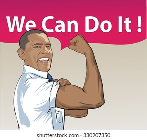 A vector illustration of a portrait of President Obama on the color background. USA president Barack Obama figure with comic cloud: We Can Do It. Stage for Presidential Campaign. 10 October 2015
