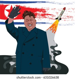 A vector illustration of a portrait of Presidential Kim Jong-un.