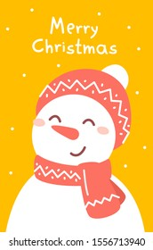 Vector illustration of portrait of snowman with red hat and scarf on yellow background with text merry christmas and snow. Flat style christmas design for poster, greeting card, web, site, banner