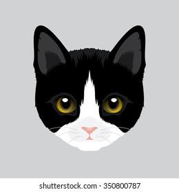 Vector Illustration Portrait of Tuxedo Cat
