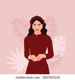 Vector illustration portrait Vietnamese woman wear traditional red long dress Ao Dai or young gird Asian in traditional dress. Concept for poster, banner, travel, tourism in Vietnam