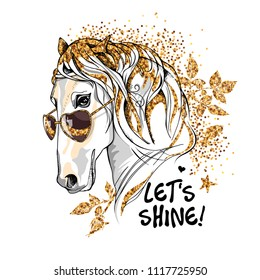 Vector illustration. Portrait of the white Horse in a sunglasses with golden mane and leaves on a white background. Let's shine - lettering quote. Emblem, t-shirt composition, hand drawn style print.