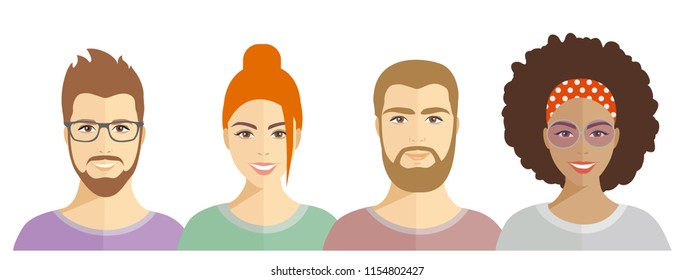 vector illustration portraits of people, faces of men and women of different nationalities, friendship of peoples