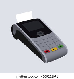 Vector illustration of POS counter-top payment processing terminal