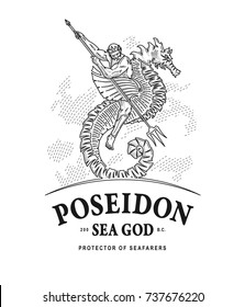 Vector illustration of Poseidon god of the seas riding a seahorse