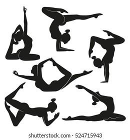 Vector illustration poses of yoga Set of female silhouettes  doing yoga. Illustration symbolizes healthy lifestyle