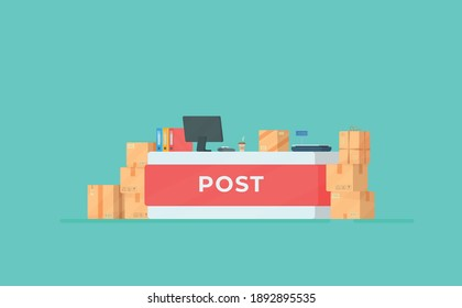 Vector illustration of a post office.