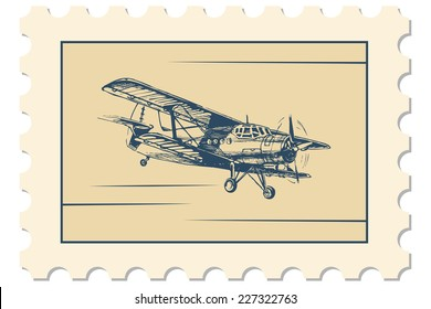 Vector illustration of postage stamp with flight picture