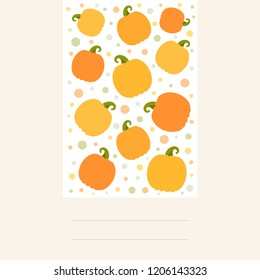 Vector illustration: postcard with collection of different shape orange pumpking icons on creamy background. Decorative element for Halloween party greeting cards, scrapbooking, posters, postcards