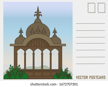 Vector illustration of a postcard with an Indian temple in flat style.