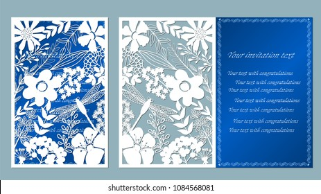 Vector illustration Postcard. Invitation and greeting card. Pattern for the laser cut. flower white. flower, leaf, dragonfly, berry