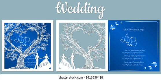 Vector illustration Postcard. Invitation and greeting card with With the groom and the bride under the trees. Pattern for the laser cut, boy and girl.