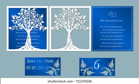 Vector illustration Postcard. Invitation and greeting card the trees. Pattern for the laser cut, heart