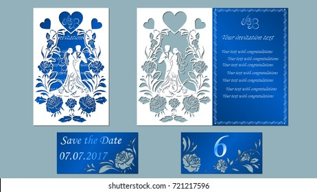 Vector illustration Postcard. Invitation and greeting card with the groom and the bride under. Arch of flowers. Pattern for the laser cut, boy and girl. rose, heart