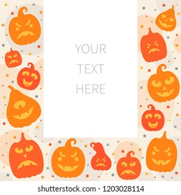 Vector illustration: postcard of orange scary carved pumpking icons isolated on creamy background. Decorative element for Halloween party greeting card, poster, postcard, wrapping paper, scrapbooking