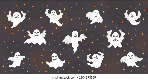 Vector illustration:  postcard with set of 11 different white scary ghost icons isolated on black background. Decorative elements for Halloween party greeting cards, posters, postcards, scrapbooking