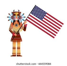 vector illustration poster to American Independence Day with a male indian cartoon character in the ethnic suit keeps the flag on white background