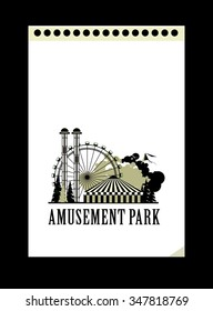vector illustration poster amusement park rides and a carnival tent