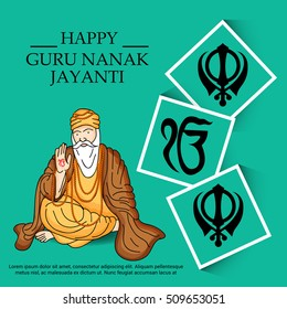 Vector illustration of a  poster or banner for Guru Nanak Jayanti celebration.