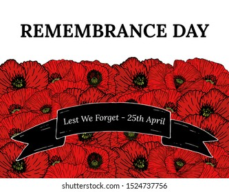 Vector illustration, poster or banner of remembrance day of Canada with poppy flowers background. With poppies and text Lest we forget - 25 april on black ribbon.