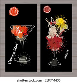 Vector illustration of Poster Cocktail set with price on black background. Template cocktail menu. Alcohol, Summer drinks. Spray, spot watercolor effect