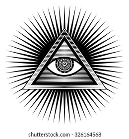 vector illustration poster design element sign Egyptian eye  in a triangle on a white background