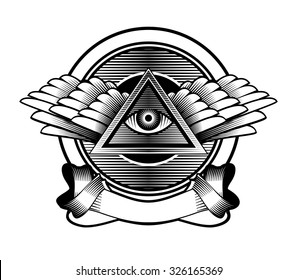 vector illustration poster design element Egyptian symbol eye in a triangle with wings