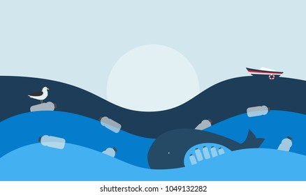 Vector Illustration. Poster with Ecological Theme: Plastic Pollution of the Ocean. The Whale with Plastic Bottles in Stomach, The Seabird sitting on Flowing Plastic Bottle.